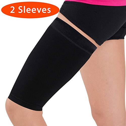 Thigh Compression Sleeve – Hamstring, Quadriceps, Groin Pull and Strains – Running, Basketball, Tennis, Soccer, Sports – Athletic Thigh Support (Single) (2 Sleeves - Black, M)