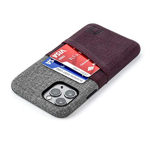 Dockem iPhone 11 Pro Wallet Case: Built-in Metal Plate for Magnetic Mounting & 2 Credit Card Holder Slots (5.8' Luxe M2 Synthetic Leather, Maroon and Grey)
