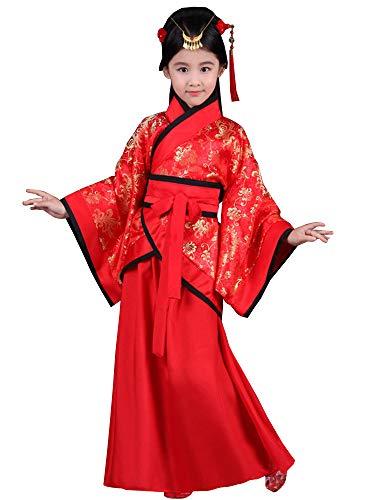 BOZEVON Hanfu - Girls Red Joyous Hanfu Niños Teatro Drama Disfraces,Rojo (Estilo 2),EU 130=Tag 140