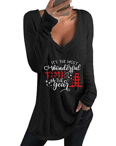 kenoce Camiseta Mujer de Manga Larga Blusa Cuello en V Casual Manga Larga Tshirt Sexy Color Sólido Elasticidad Pullover Blusas Camiseta de Navidad U-Negro S