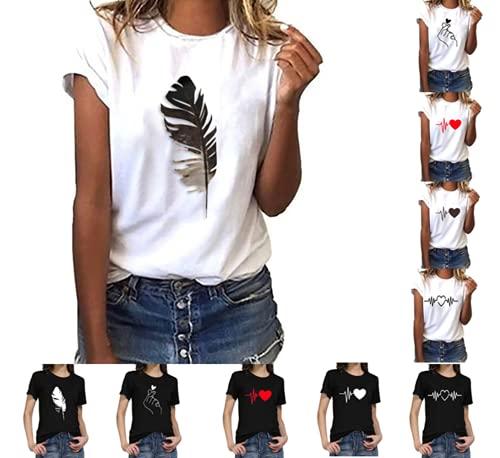 Mingyun Damen Sommer Tshirt Kurzarm Oberteile Casual Rundhals Basic Tees Mode Motiv Shirt Tunika Slim Bluse Ärmeln Hemd