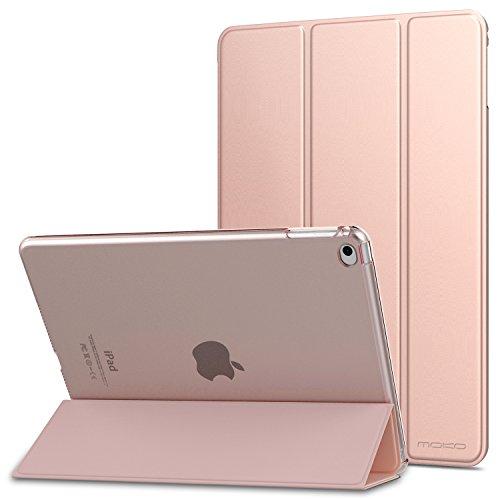 MoKo Hülle für Apple iPad Air 2 - PU Leder Tasche Schale Smart Hülle mit Translucent Rücken Deckel, mit Auto Schlaf/Wach Funktion & Standfunktion, Rose Gold
