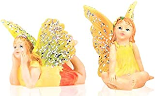 Miniature Fairy Garden 2pc Set - Tiny Sitting Yellow Fairy & Flying Laying Flat Fairy - Made of Resin - Colorful Pixie Out...