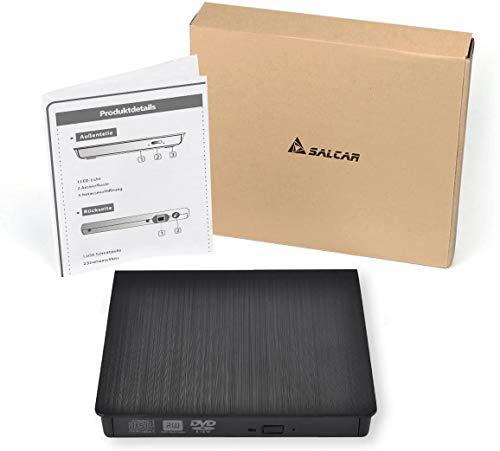 SALCAR Externes CD DVD Laufwerk, Brenner USB 3.0 Ultra Slim Portable für Laptops und Desktops unterstützt Windows XP/2003/Vista/7/8/10, Mac OS - (Schwarz)