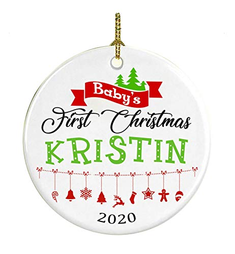 Christmas Tree Ornament Decoration Baby First Christmas 2018 Name Kristin - Gifts for Baby, Kid - Ceramic Ornament 3 Inches White