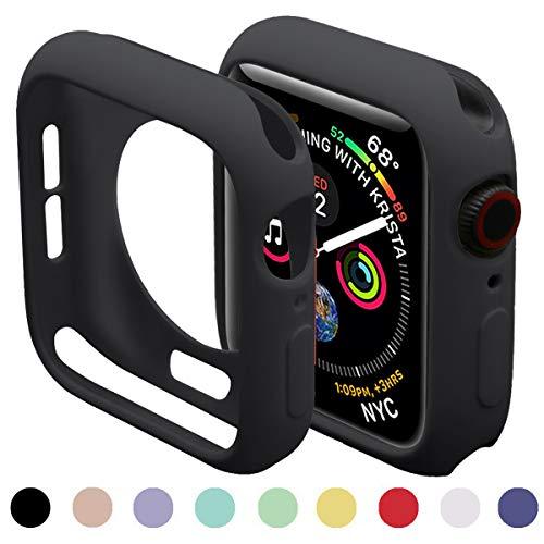 Miimall Kompatibel mit Apple Watch 44mm Schutzhülle Serie 5/4, Flexible TPU Hülle Abdeckung Stoßfest Schutz Bumper Case für Apple Watch Serie 4/5 - Schwarz