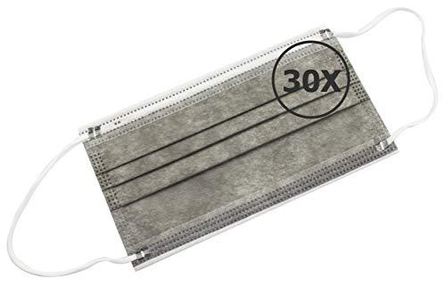 TBOC Einweg Hygienemaske - [Pack 30 Einheiten] Polypropylenmaske [Grau] 3 Lagen Weiche Leichte Atmungsaktive mit Nasenclip Gesicht Schutz Hohe Filtration Beständig Maske Nicht Wiederverwendbar