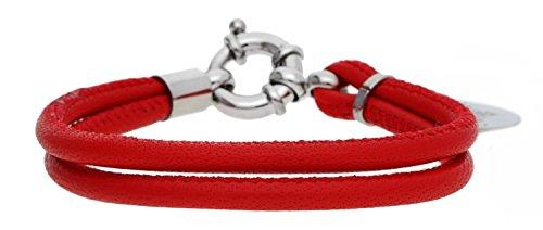 TOM TAILOR Damen-Armband Leder rot Anhänger Edelstahl TT56019