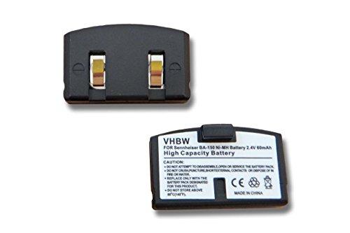vhbw 2X Ni-MH batería 60mAh (2.4V) para Auriculares Sennheiser Set 250, Set 500, Set 50 TV, Set 2500 por BA-150, BA150, BA-151, BA151.