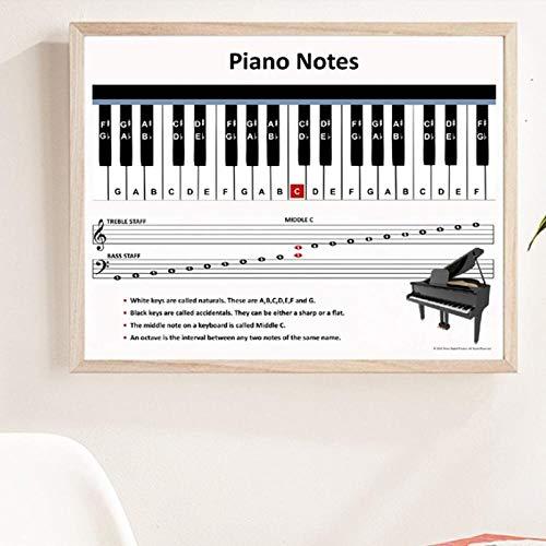 KBIASD tela nordic Pictures decorazione casa pianoforte spartito musicale murale quadri stampa hotel poster per soggiorno 5070 cm senza cornice