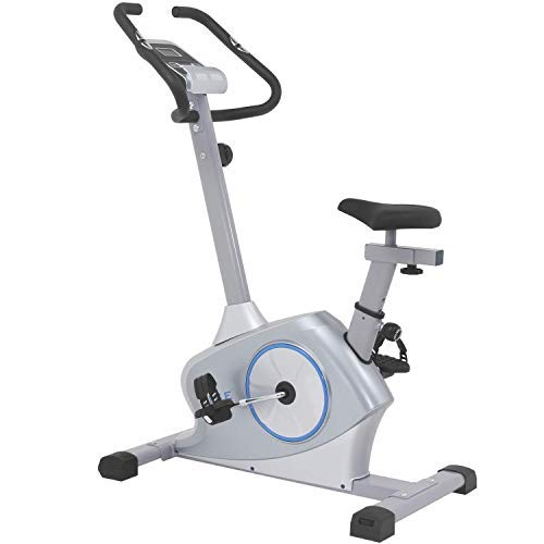ISE Ergometer Heimtrainer Fahrrad Fitness Bike mit LCD-Bildschirmanzeige, Magnetbremssystem, 12KG Schwungmasse,mit Motorsteuerung, Pulssensoren (SY-8608)
