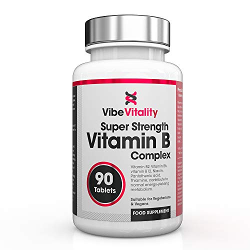 Vibe Vitality Vitamin B-Complex - High Strength B Vitamins with folate, B6 & B12 plus vitamin C, 90 Tablets (3 months supply) - Made in The UK