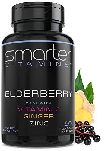 Smarter Elderberry Capsules + Vitamin C + Ginger & Zinc, Herbal Supplement for Immune Support, Powerful Black Elder Berry Extract Antioxidant Vitamin, 60 Vegan Pills