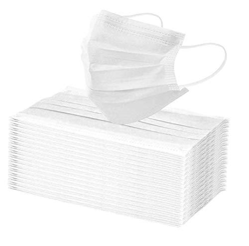 10 x Mundschutz Bedeckung Masken weiß Mund Nase Bedeckung Gesicht 3 lagig Behelfsmaske (10) (17,4 x 9,4 cm, weiß, 10)