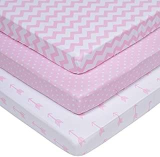 Baebae Pack n Play Playard Sheet Set for GIRLS | Portable Mini Crib Fitted Sheets | PINK & WHITE | 100% Jersey Knit Cotton | 150 GSM | 3 Pack