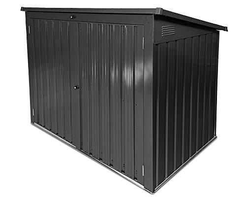 Ondis24 Gartengerätebox 2000 Liter Mülltonnenbox aus Metall Gartenmöbelbox Poolbox Gartenbox anthrazit für 2 Stück 240 Liter oder 3 Stück 120 Liter Mülltonnen geeignet