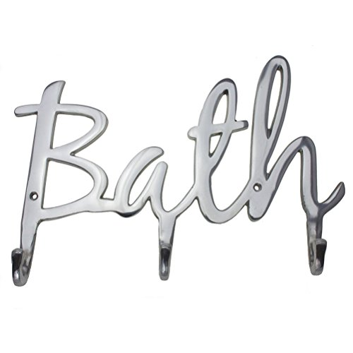 "Comfify Modern Style ""Bath"" Wall Mount Towel Holder and Robe Hook by Hand-Cast Aluminum Bathroom Hanger Decor w/ 3 Hooks for Towels, Robes, Clothing 