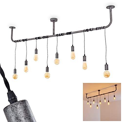 Deckenleuchte Tjergaast, Deckenlampe aus Metall in Grau/Schwarz, 8-flammig, 8 x E27-Fassung max. 60 Watt, Pendelleuchte im Retro/Vintage Design m. höhenverstellbaren Leuchtköpfen, LED geeignet