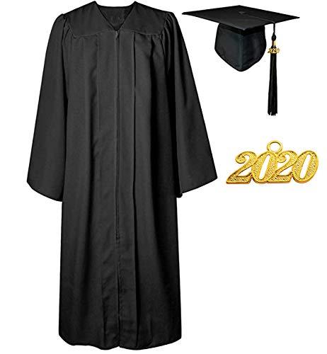 Toga De Graduación Y Birrete Toga De Graduación Y Túnica De Graduación Académica Mate Para Soltero/Escuela Secundaria,Black-60