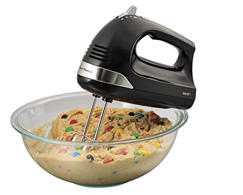 Hamilton Beach 6-Speed Electric Hand Mixer with Snap-On Storage Case, QuickBurst, Beaters, Whisk and Bowl Rest (62635), Black