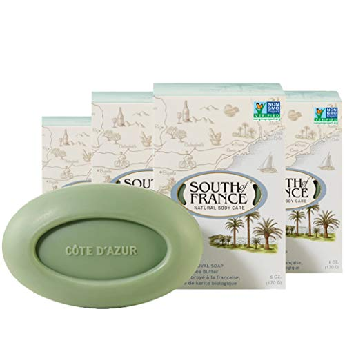 Côte d'Azur Natural Bar Soap by South of France Natural Body Care | Triple-Milled French Soap with Organic Shea Butter + Essential Oils| Vegan, Non-GMO Body Soap | 6 oz Bar – 4 Pack