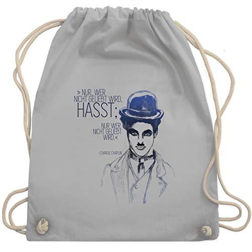 Shirtracer Statement - Charlie Chaplin - Zitat aus der Rede des großen Diktators (Film) - Unisize - Hellgrau - rede chaplin - WM110 - Turnbeutel und Stoffbeutel aus Baumwolle