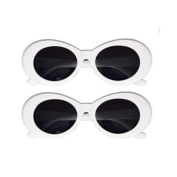 JUSLINK Bold Retro Oval Mod Thick Frame Sunglasses Round Lens Clout Oval Goggles