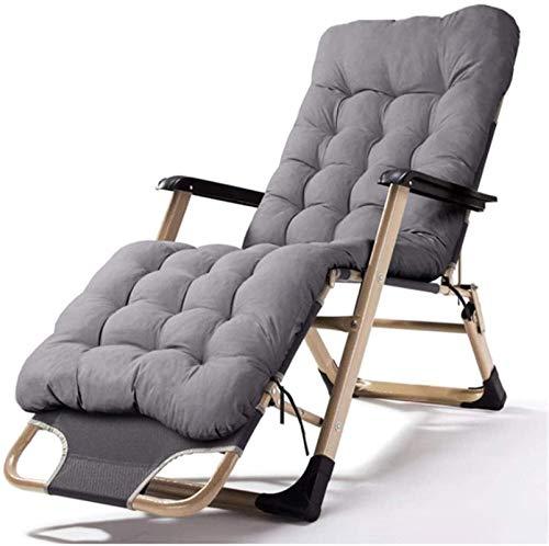 Tumbonas reclinables y tumbonas reclinables, silla ajustable con cojín, muebles de exterior, cama plegable para la playa, piscina, patio, jardín, camping, pies de acero (color gris)