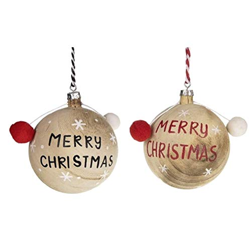 Palline di Natale in legno con scritta 'Merry Christmas', diametro 8 cm