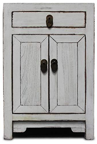 Asien Lifestyle Commode Vintage en Bois d'urne Blanc 32 x 40 x 60 cm