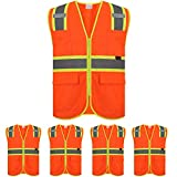 ZOJO High Visibility Safety Vests With Pockets, 5 Packs,Wholesale Reflective Vest for Outdoor Works, Cycling, Jogging, Walking,Sports (Orange-XL)