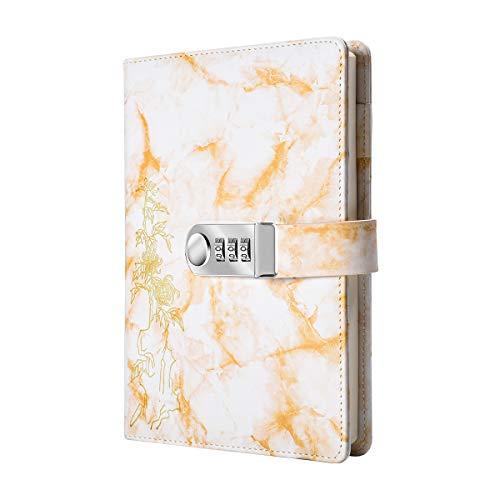 Kreatives Tagebuch mit Zahlenschloss, A5, PU-Leder, Zahlenschloss, Tagebuch, digitales Passwort-Notizbuch, abschließbares Tagebuch (gelb)