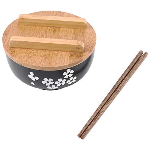 TOOGOO Japanische SchüSsel Instant Nudeln Geschirr Essen Zimmer Geschirr Salat Keramik Schale Holz L?Ffel Holz St?Bchen