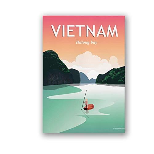 WLKQY Póster de arte de pared vintage de la bahía de Halong de Vietnam para decoración del hogar, idea de viaje, 50x70 cm sin marco