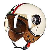O-Mirechros Casco la Motocicleta Vespa la Vendimia Abierta la Cara Casco Retro Montar a Caballo compite con el Casco 1 XL