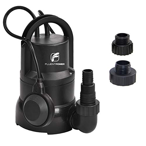 """FLUENTPOWER 1/3 HP Electric Submersible Small Utility Drain Water Pump, with Side Discharge for Clean Water, 3/4"""" Garden Hose Connector Included"""