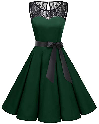 Bbonlinedress 1950er Ärmellos Vintage Retro Spitzenkleid Rundhals Abendkleid Deep Green M