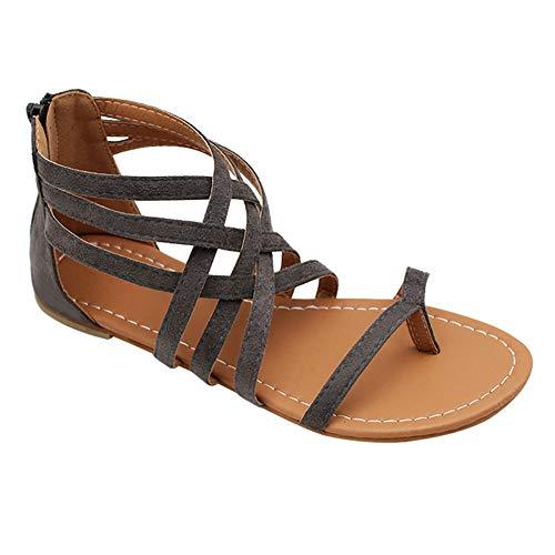 Xiedeai Verano Zapatos Mujer Sandalias Chanclas - Moda Bohemia Romanas Punta Plana Estilo Informal Cómodo Elegante Gladiador Playa Calzado (Los Zapatos Son Más Pequeños)