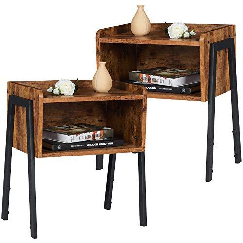 EPHEX 2er-Set Stapelbarer Nachttisch Nachtkommode im Industrie-Design, Beistelltisch mit offenem Fach Stauraum, Retro Rustikale Holzoptik, Stabil Sofatisch für Schlafzimmer und Wohnzimmer