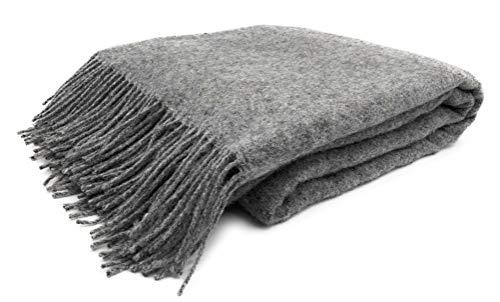 JOWOLLINA Wolldecke Plaid 140x200 cm, 100% Wolle, Melange (Melange Grau)