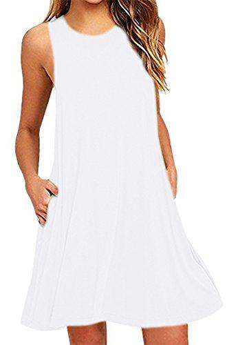 YMING Frauen Kleid Lässige Minikleid Rundhals Sommerkleid, XL, Taschen-weiß