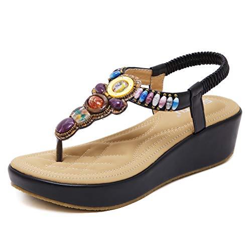ZAPZEAL Damen Sandalen Böhmischer Stil 5 cm Absätz Schuhe Sommer Sandalen Antirutsch Komfortabel Frauen Flip Flops Schuhe,Schwarz 40 EU