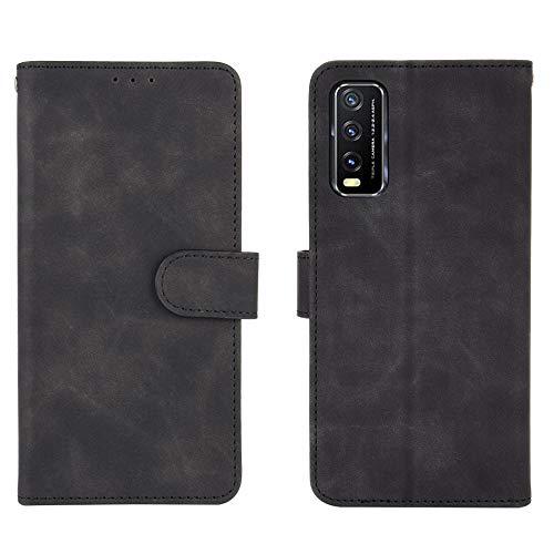 HAOREN Leather Folio Cover per Vivo Y20s Cover, PU + TPU Leather Wallet Case, Premium Filp Cover Custodia in Pelle Portafoglio con Funzione Stand, Nero