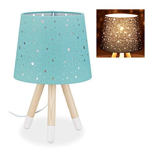 Relaxdays Tischlampe Kinderzimmer, Nachttischlampe Sterne, Jungen & Mädchen, E14, runder Stoffschirm, 40 cm hoch, mint, 10028043_213
