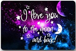 Fashion Machine-washable Indoor/Outdoor Doormat - I Love You To The Moon And Back Space Nebula Universe Retro Galaxy in the Dark Custom Door Mat/Gate Pad 23.6