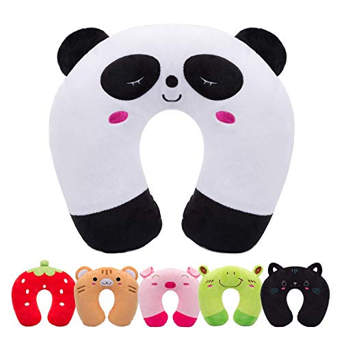 Yinitoo Kids Travel Pillow Children Neck Pillow Chin & Neck Support Cushion with Animal Super Soft Cover for Car Train Airplane (Panda)