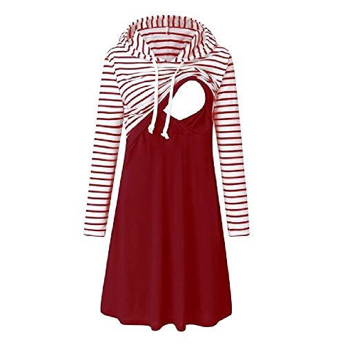 N\P Vestido de embarazo para mujer, manga larga, vestido de enfermería a rayas, para amamantar con capucha