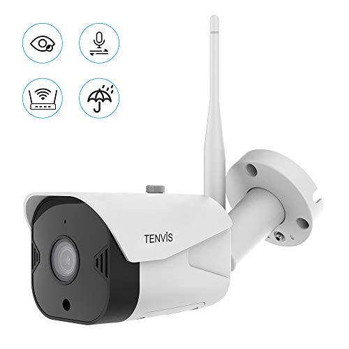 Cámara de Vigilancia WiFi Exteriores - Cámara de Seguridad FHD 1080P Inalámbrica, IP66 a Prueba de Agua/Audio Bidireccional/Visión Nocturna/Notificación de Alerta Funciona con Alexa