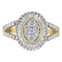 10カラットイエローゴールドダイヤモンドカクテルリング(1cttw、H-Iカラー、SI2-I1クラリティ)