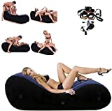 Inflatable Multifunctional Sofa - Yoga Chaise Lounge/Relax Chair -Bed Sofa with Handcuffs & Leg Cuffs- Portable Magic Cushion Ramp Body Pillow Inflatable Furniture Lounger for Couples (1)